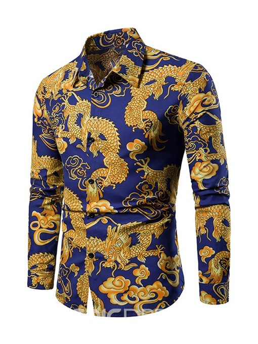 Ericdress Print Lapel Chinese Style Single-Breasted Mens Casual Shirt
