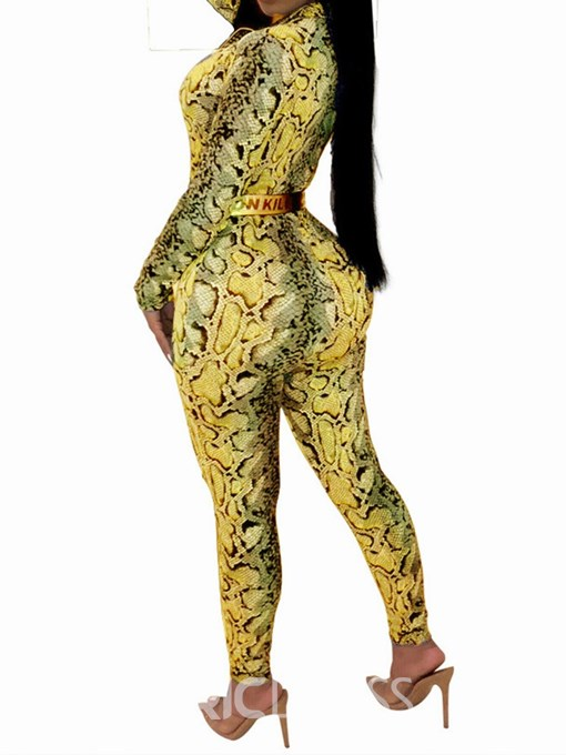 Ericdress Snake Print Fashion Stretchy Pencil Pants High Waist Jumpsuit(Without Waistband)