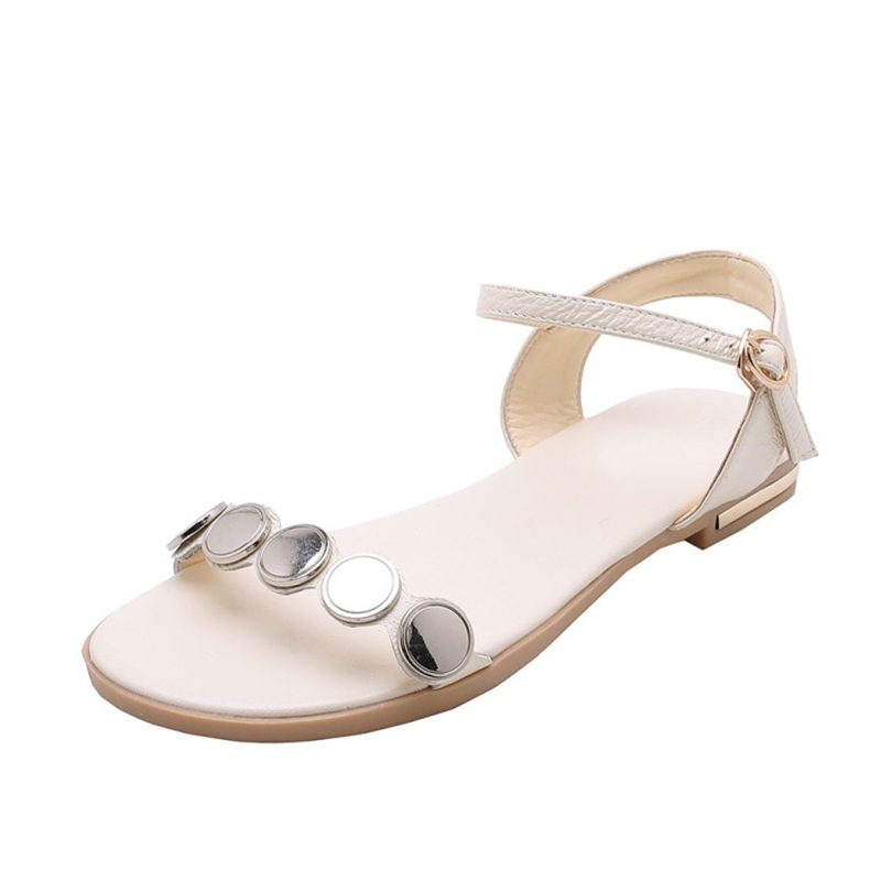 Ericdress Sequin Buckle Block Heel Women's Flat Sandals