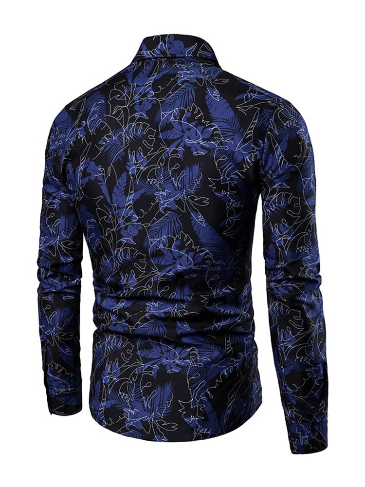 Ericdress Printed Lapel Single-Breasted Mens Shirts