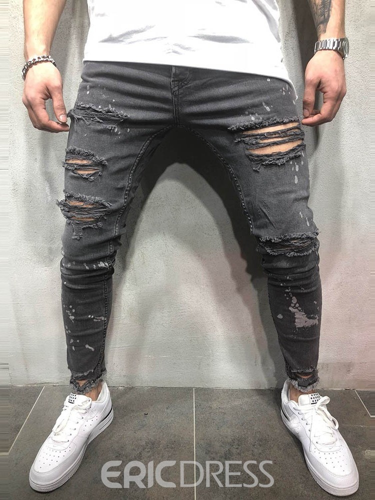 Ericdress Plain Printed Mid Waist Mens Ripped Jeans