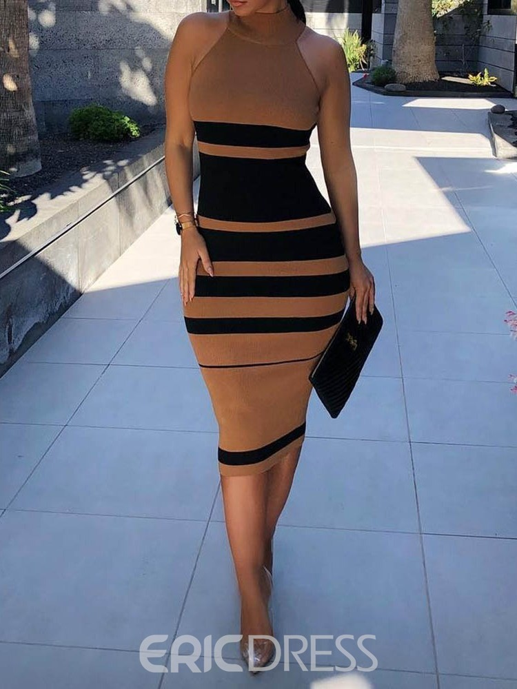 Ericdress Stand Collar Knee-Length Sleeveless High Waist Stripe Dress