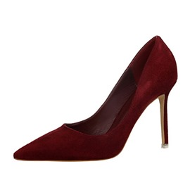 Ericdress Faux Suede Plain Stiletto Heel Pointed Toe Women's Pumps
