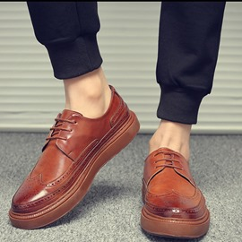 Ericdress PU Hollow Round Toe Lace-Up Men's Comfortable Shoes