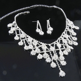 Floral Necklace Korean Wedding Jewelry Sets