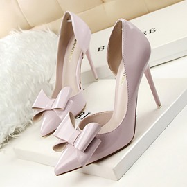 Ericdress PU Bow Pointed Toe Stiletto Heel Women's Pumps
