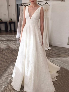 Ericdress Bateau A-Line Floor-Length Hall Wedding Dress 2019