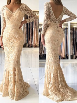 Ericdress Long Sleeves V-Neck Lace Evening Dress