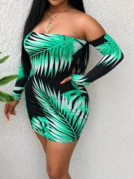 Ericdress Print Above Knee Strapless Plant Backless Bodycon Dress