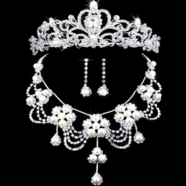 Tiara Floral Pearl Inlaid Jewelry Sets (Wedding)