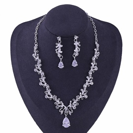 Korean Diamante Floral Wedding Jewelry Sets