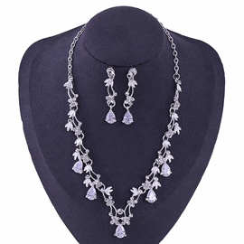 Necklace Gemmed Korean Jewelry Sets (Wedding)