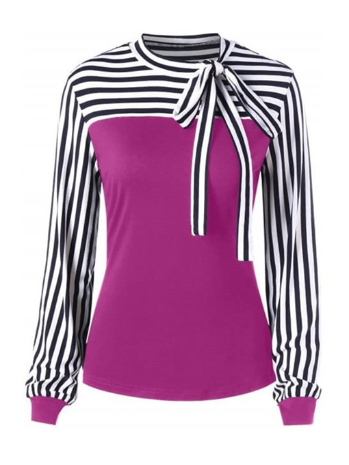 Ericdress Long Sleeve Mid-Length Stripe Casual Slim T-Shirt