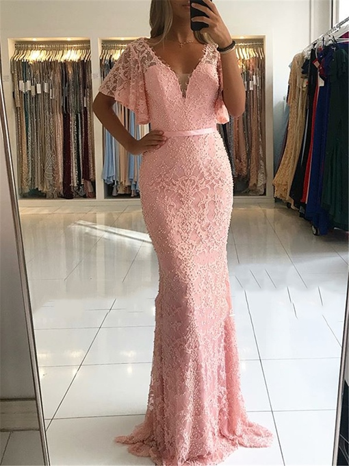 Ericdress Short Sleeves Lace Mermaid Evening Dress 2019