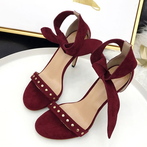 Ericdress Faux Suede Lace-Up Stiletto Heel Heel Covering Women's Sandals