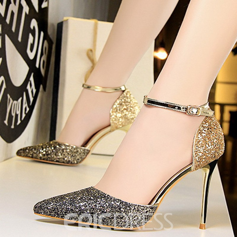 Ericdress Sequin Stiletto Heel Line-Style Buckle Women's Sandals