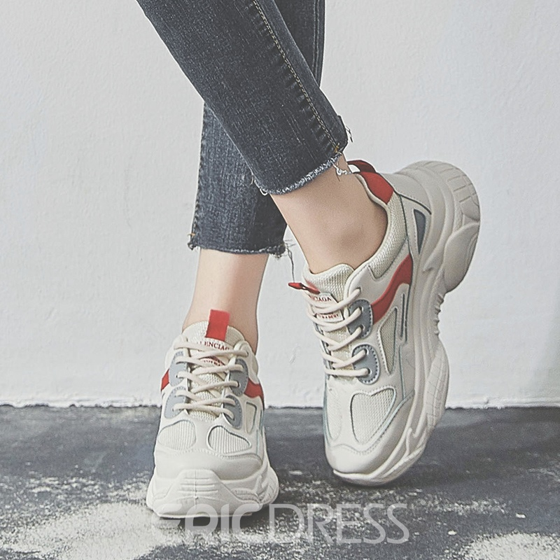 Ericdress PU Patchwork Lace-Up Round Toe Women's Chic Sneakers