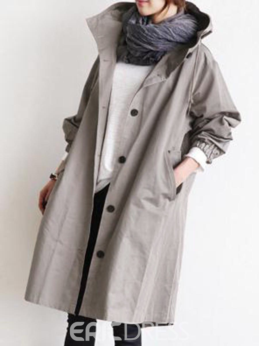 Ericdress Hooded Single-Breasted Long Long Sleeve Loose Trench Coat
