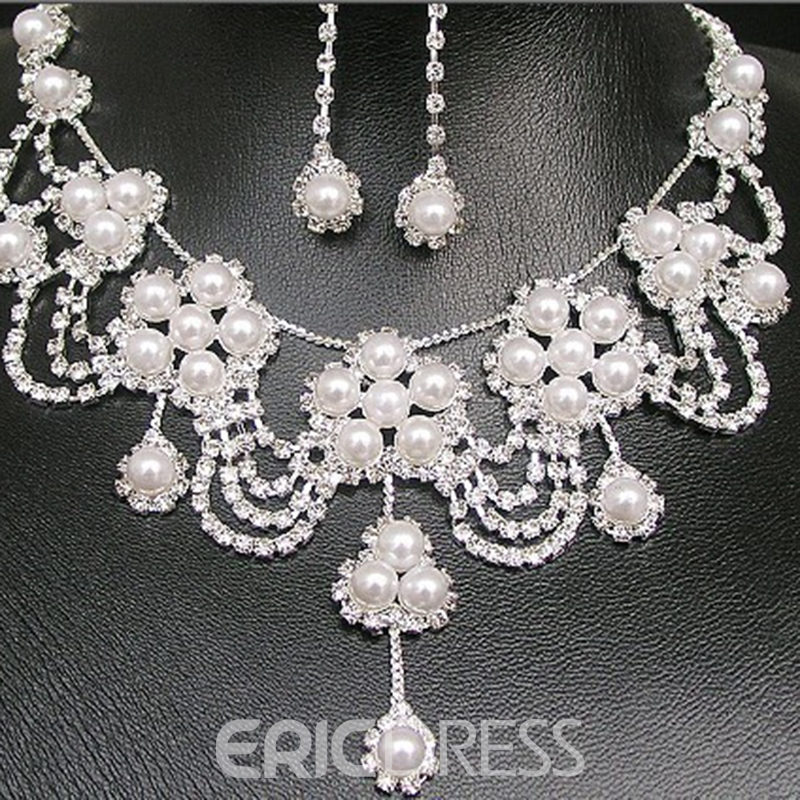 Korean Floral Pearl Inlaid Jewelry Sets (Wedding)