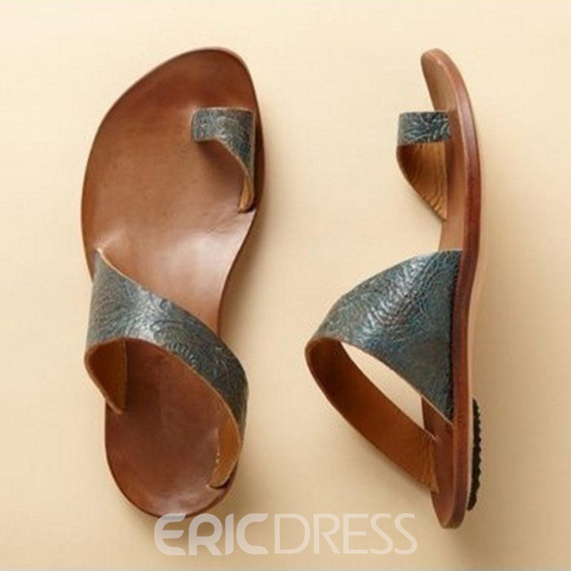 Ericdress Plain Toe Ring Slip-On Women's Flat Sandals