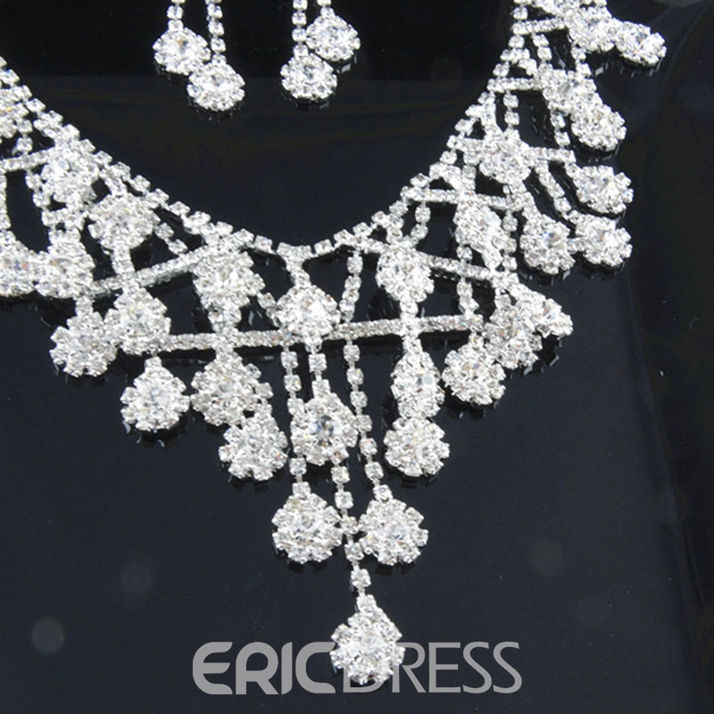 Diamante Floral Earrings Jewelry Sets