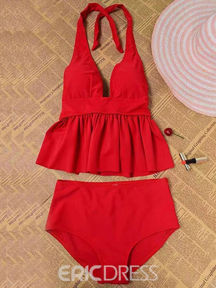 Ericdress Lace-Up V-Neck Sexy Swimsuit