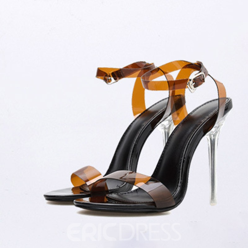 Ericdress PVC Stiletto Heel Open Toe Buckle Women's Sandals