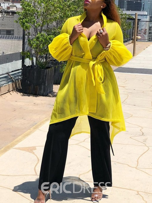 Ericdress See-Through Lace-Up Long Lantern Slevee Trench Coat