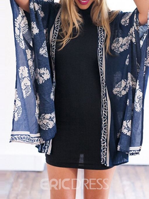 Ericdress Print Mid-Length Loose Summer Trench Coat