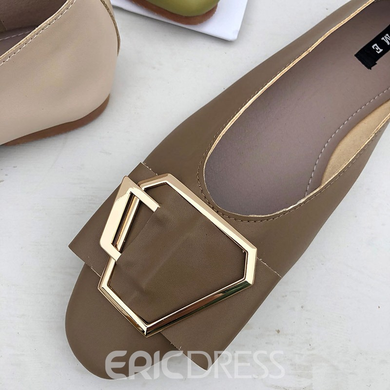 Ericdress PU Square Toe Block Heel Women's Flats