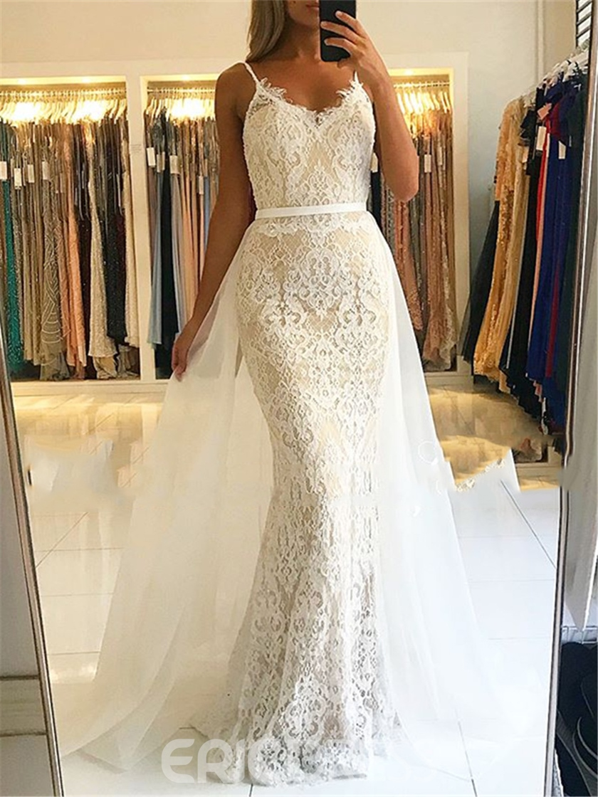 Ericdress Spaghetti Straps Mermaid Lace Evening Dress 2019