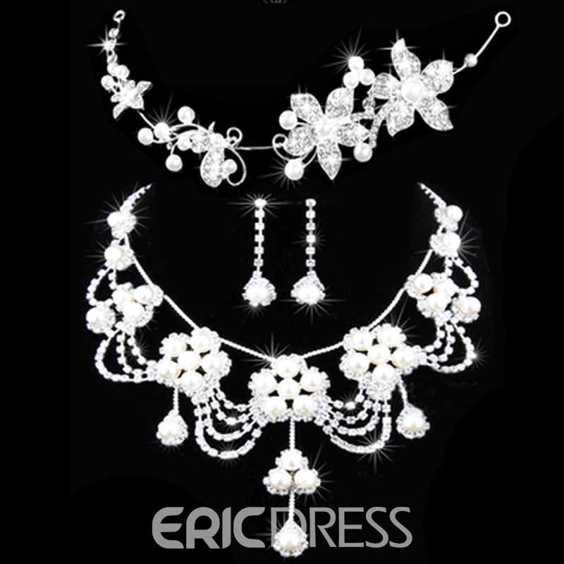 Korean Floral Pearl Inlaid Jewelry Sets
