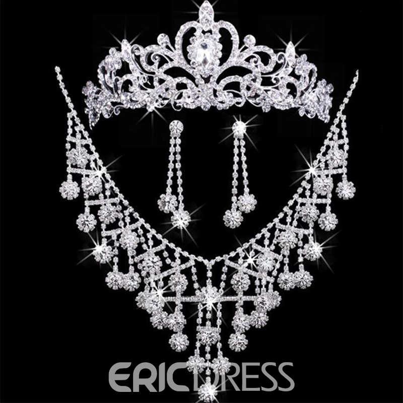 Floral Tiara Diamante Jewelry Sets (Wedding)