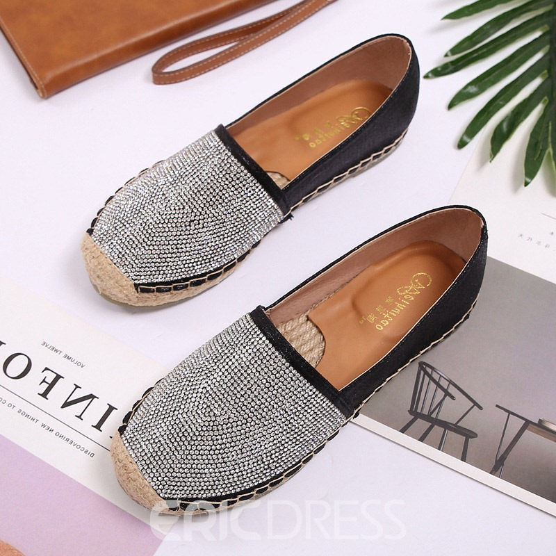 Ericdress Rhinestone Block Heel Slip-On Round Toe Women's Flats
