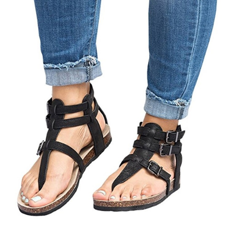Ericdress PU Thong Buckle Women's Flat Sandals