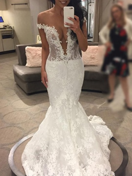 Ericdress Off-The-Shoulder Mermaid Hall Wedding Dress 2019