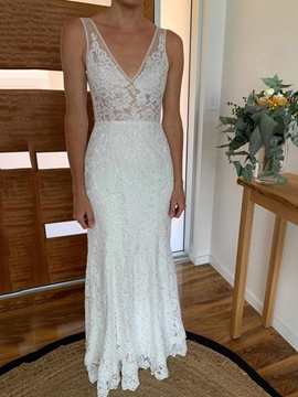 Ericdress Lace Appliques Backless Outdoor Wedding Dress 2019