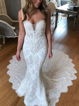 Ericdress Spaghetti Straps Lace Mermaid Wedding Dress 2019