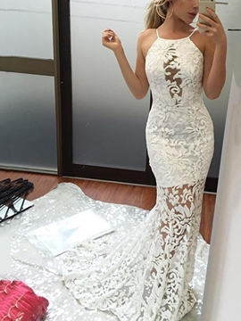Ericdress Halter Lace Mermaid Hall Wedding Dress 2019