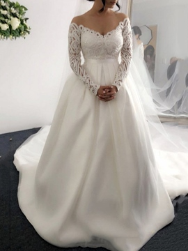 Ericdress Lace Long Sleeves V-Neck Hall Wedding Dress 2019