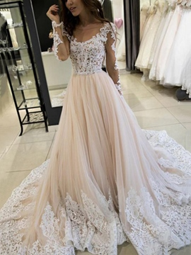 Ericdress Court Train Appliques Long Sleeves Wedding Dress 2019