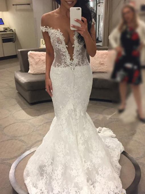 Ericdress Deep V-Neck Mermaid Lace Wedding Dress
