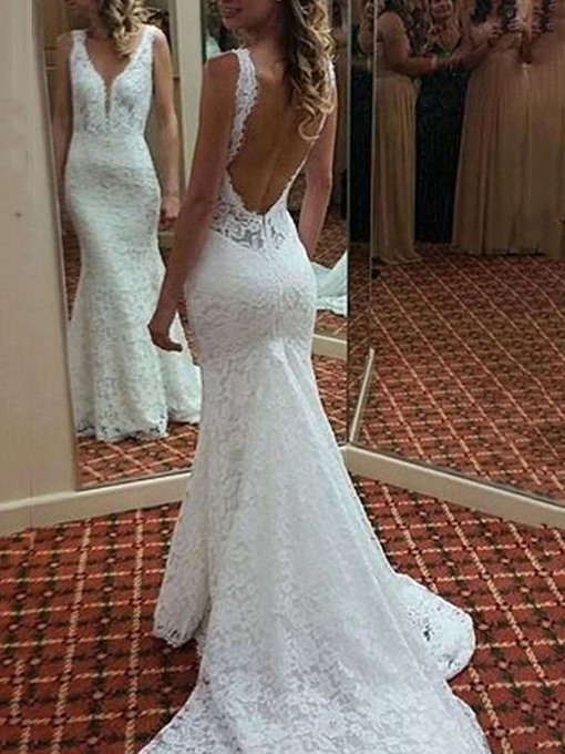 Ericdress Sleeveless Backless Lace Mermaid Wedding Dress 2019