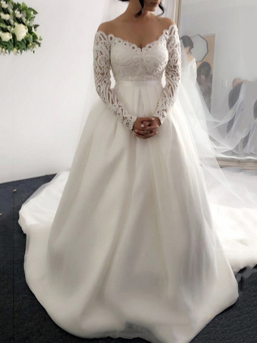 Ericdress Sequins Lace Long Sleeves Wedding Dress