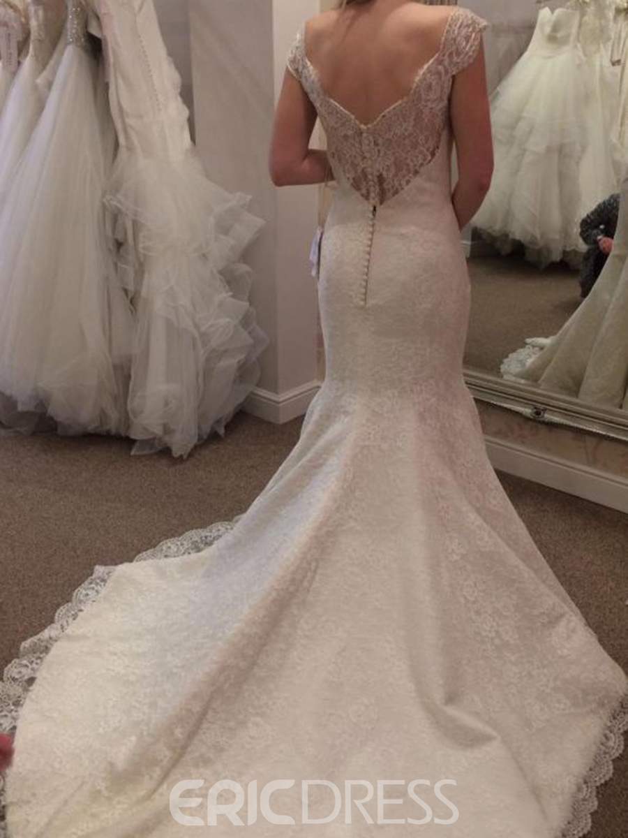 Ericdress Off the Shoulder Beading Mermaid Lace Wedding Dress