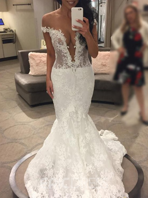 Ericdress Deep V-Neck Mermaid Lace Wedding Dress 2019