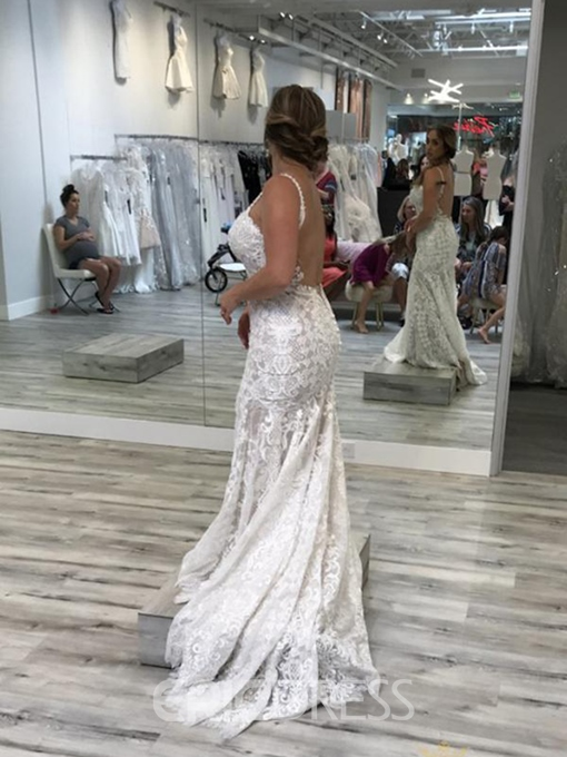 Ericdress Straps Lace Backless Mermaid Wedding Dress 2019