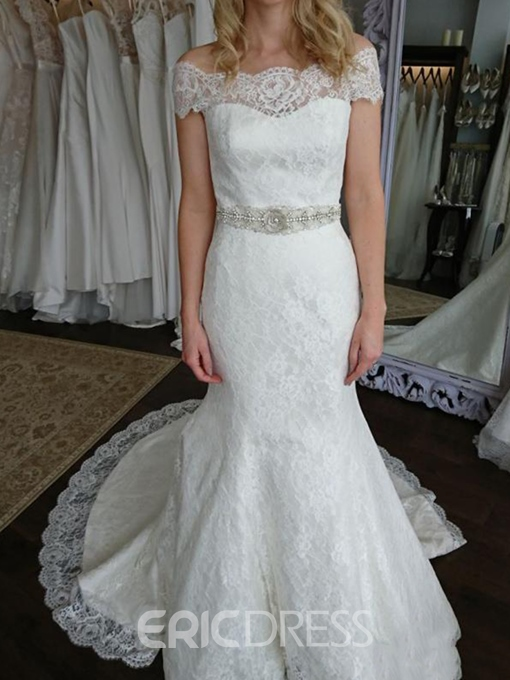 Ericdress Off-The-Shoulder Mermaid Lace Wedding Dress 2019