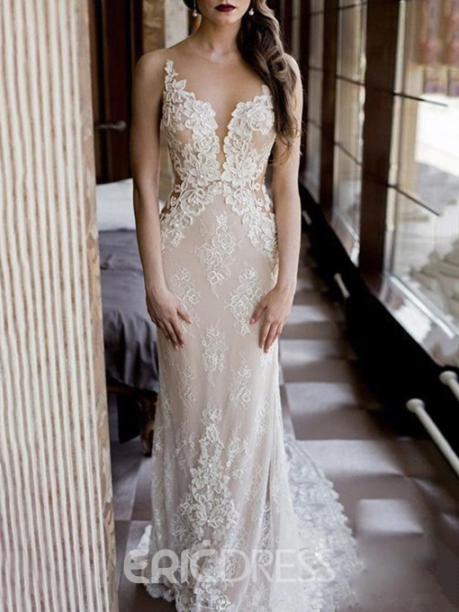 Ericdress Sheer Back Sheath Beading Beach Wedding Dress