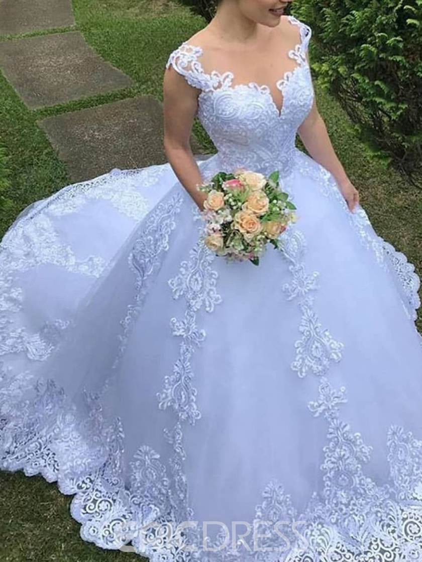 Ericdress Appliques Straps Ball Gown Outdoor Wedding Dress 2019